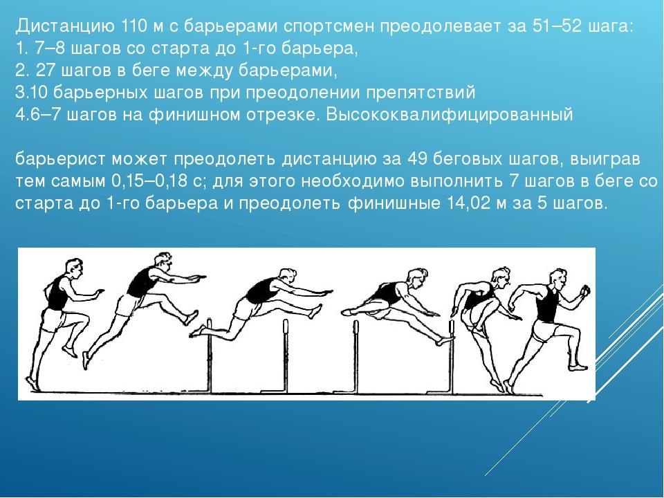 Дистанцию 110м с барьерами спортсмен преодолевает за 51–52 шага: 1. 7–8 шаго...