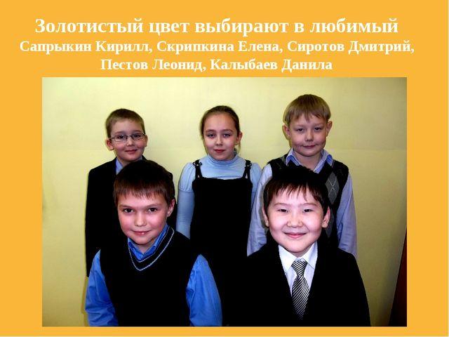 Золотистый цвет выбирают в любимый Сапрыкин Кирилл, Скрипкина Елена, Сиротов...