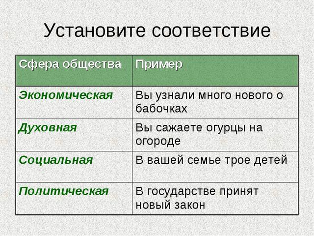 Установите соответствие Сфера обществаПример ЭкономическаяВы узнали много н...