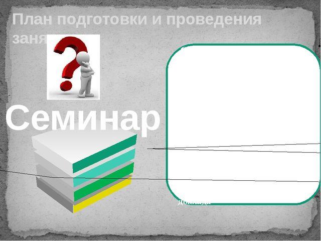 План подготовки и проведения занятия Сообщение темы План семинара Выделение...