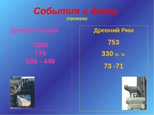 События и даты (проверка) Древняя Греция 1200 776 500 - 449 Древний Рим 753 3