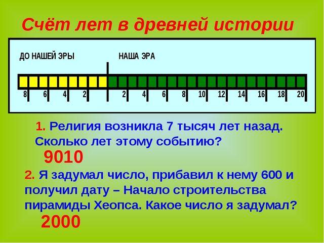 Счёт лет в древней истории 1. Религия возникла 7 тысяч лет назад. Сколько лет...