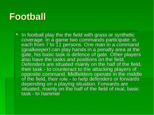 Football In football play the the field with grass or synthetic coverage. In
