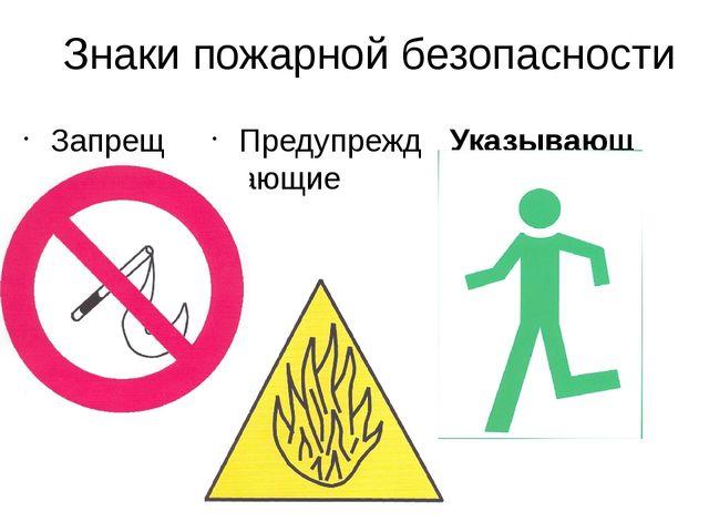 Знаки пожарной безопасности Запрещающие Указывающие Предупреждающие