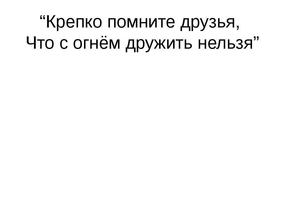 """""""Крепко помните друзья, Что с огнём дружить нельзя"""""""