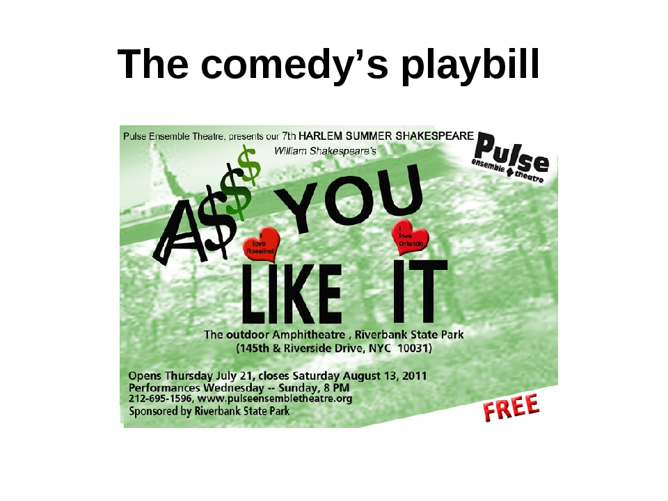 The comedy's playbill