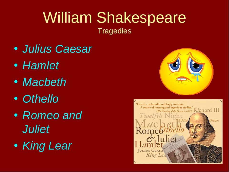 William Shakespeare Tragedies Julius Caesar Hamlet Macbeth Othello Romeo and...
