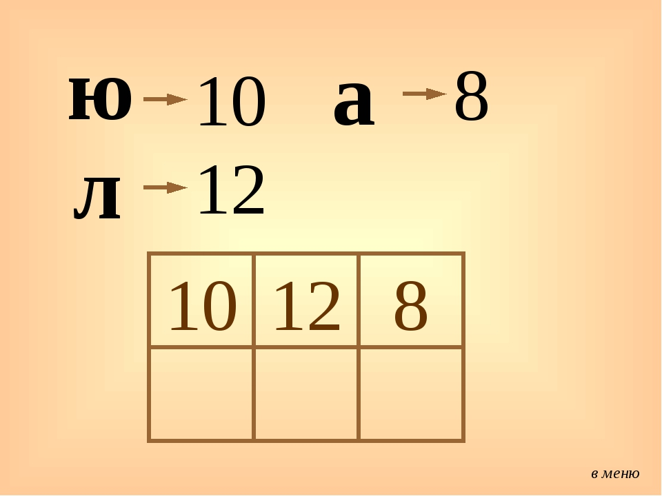ю 10 л 12 а 8 в меню 10 12 8