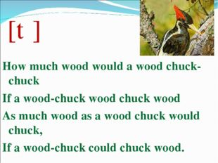 [tʃ] How much wood would a wood chuck-chuck If a wood-chuck wood chuck wood A