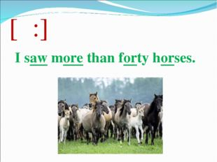 [ɔ:] I saw more than forty horses.