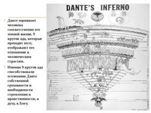 Данте оценивает человека соответственно его земной жизни. 9 кругов ада, котор