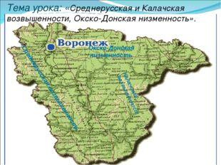 Тема урока: «Среднерусская и Калачская возвышенности, Окско-Донская низменнос