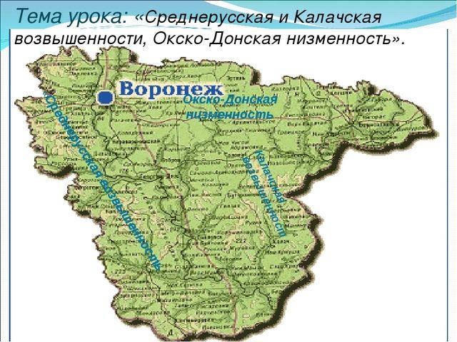 Тема урока: «Среднерусская и Калачская возвышенности, Окско-Донская низменнос...