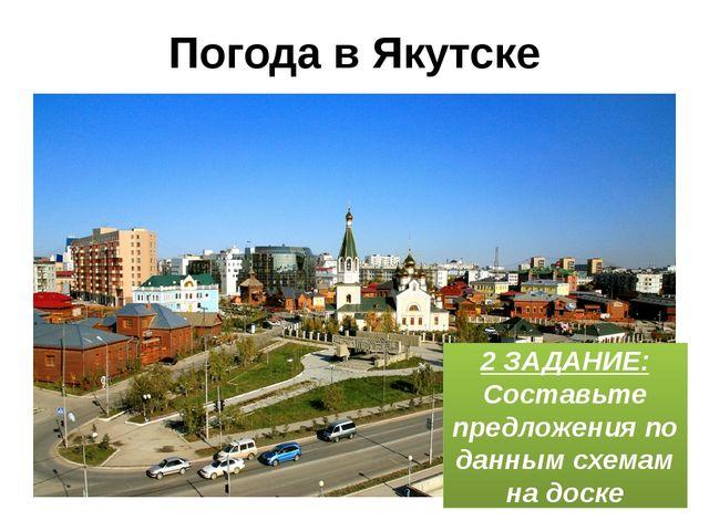 Погода в Якутске 2 ЗАДАНИЕ: Составьте предложения по данным схемам на доске