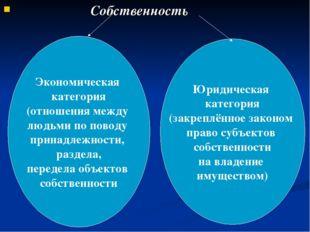 Собственность Экономическая категория (отношения между людьми по поводу прин