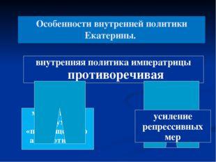 Особенности внутренней политики Екатерины. внутренняя политика императрицы пр