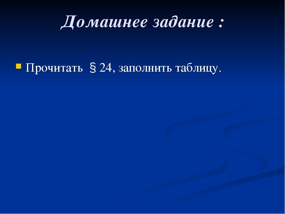 Домашнее задание : Прочитать § 24, заполнить таблицу.