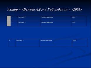 Автор = «Беляев А.Р.» и Год издания = «2005»