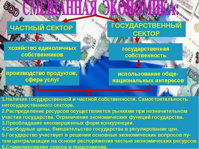 ЧАСТНЫЙ СЕКТОР ГОСУДАРСТВЕННЫЙ СЕКТОР государственная собственность хозяйство...