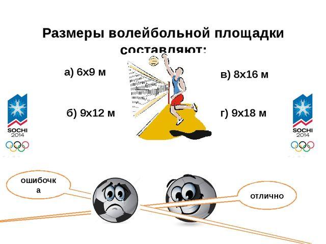 Размеры волейбольной площадки составляют: а) 6х9 м б) 9х12 м в) 8х16 м г) 9х1...