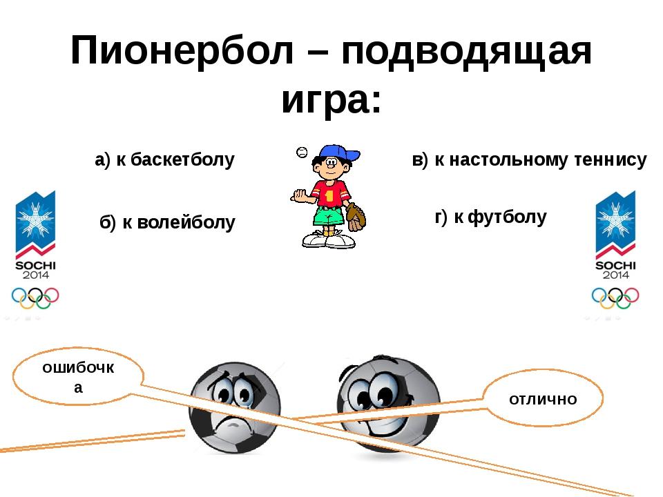 Пионербол – подводящая игра: а) к баскетболу б) к волейболу в) к настольному...