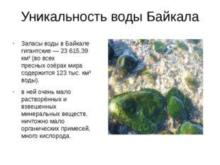 ≈ 19% Запасы воды в Байкале – 23 615 км 3 , что составляет 19% от мировых зап