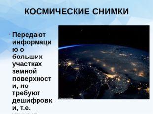 КОСМИЧЕСКИЕ СНИМКИ Передают информацию о больших участках земной поверхности,