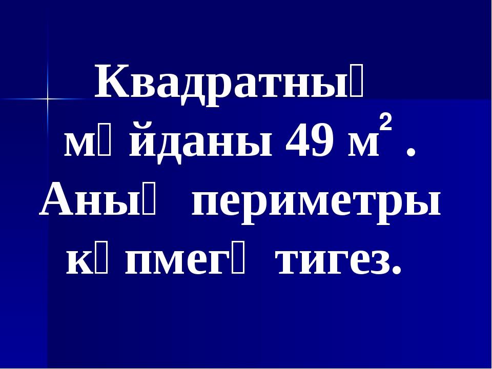 Квадратның мәйданы 49 м . Аның периметры күпмегә тигез. 2