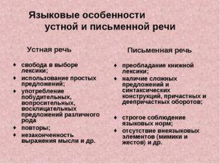 Языковые особенности устной и письменной речи Устная речь свобода в выборе ле