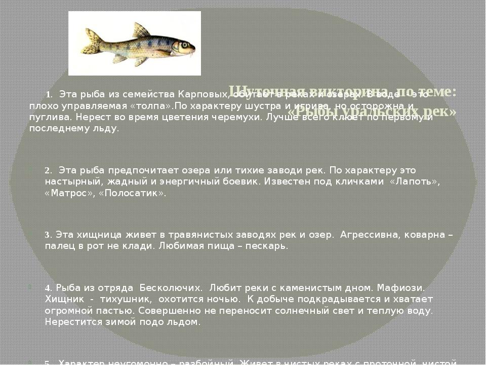 Шуточная викторина по теме: «Рыбы уральских рек» 1. Эта рыба из семейства Ка...