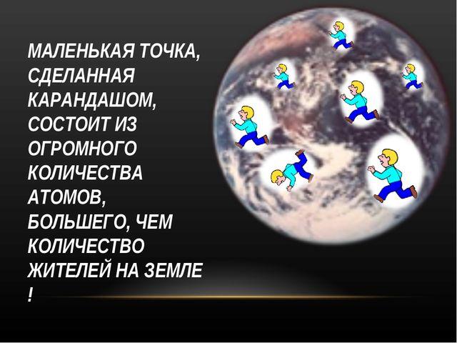 МАЛЕНЬКАЯ ТОЧКА, СДЕЛАННАЯ КАРАНДАШОМ, СОСТОИТ ИЗ ОГРОМНОГО КОЛИЧЕСТВА АТОМОВ...