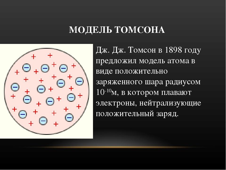МОДЕЛЬ ТОМСОНА Дж. Дж. Томсон в 1898 году предложил модель атома в виде полож...