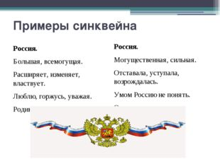 Примеры синквейна Россия. Большая, всемогущая. Расширяет, изменяет, властвует