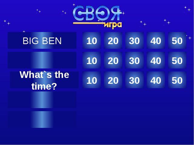 Where is Big Ben? 10 Категория Ваш вопрос Ответ