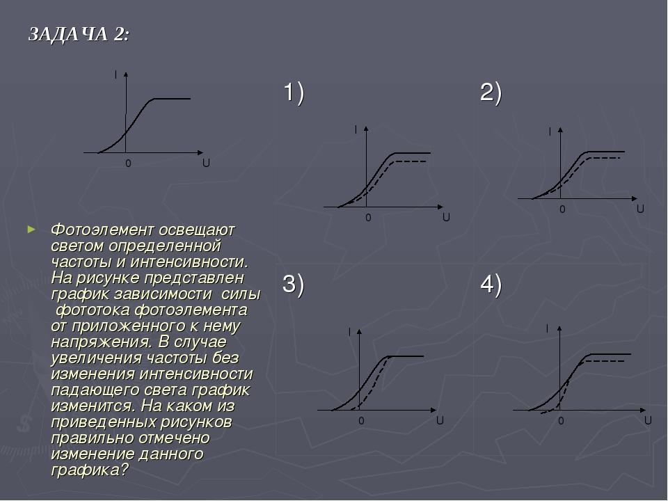 ЗАДАЧА 2: Фотоэлемент освещают светом определенной частоты и интенсивности. Н...