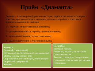 Приём «Диаманта» Диаманта –стихотворная форма из семи строк, первая и последн