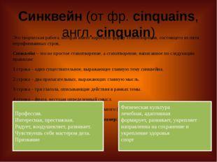 Синквейн(от фр.cinquains, англ.cinquain) Это творческая работа, которая им
