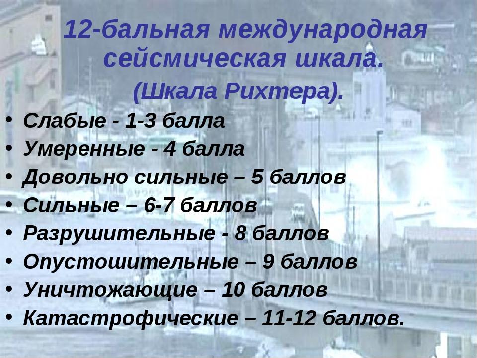 12-бальная международная сейсмическая шкала. (Шкала Рихтера). Слабые - 1-3 б...