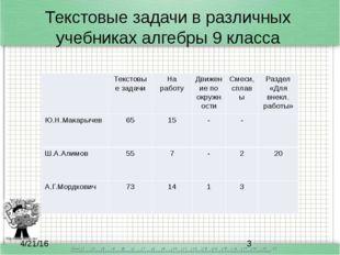 Текстовые задачи в различных учебниках алгебры 9 класса Текстовые задачи На р
