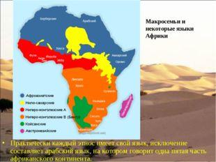 Практически каждый этнос имеет свой язык, исключение составляет арабский язы