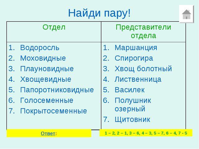 Найди пару! Ответ: 1 – 2, 2 – 1, 3 – 6, 4 – 3, 5 – 7, 6 – 4, 7 - 5