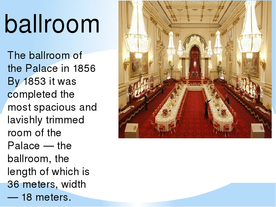 The ballroom of the Palace in 1856 By 1853 it was completed the most spacious...