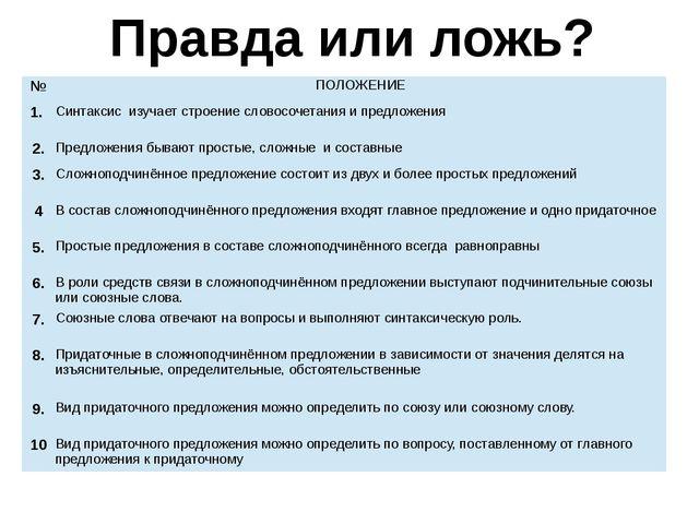 Правда или ложь? № ПОЛОЖЕНИЕ 1. Синтаксисизучает строение словосочетания и пр...