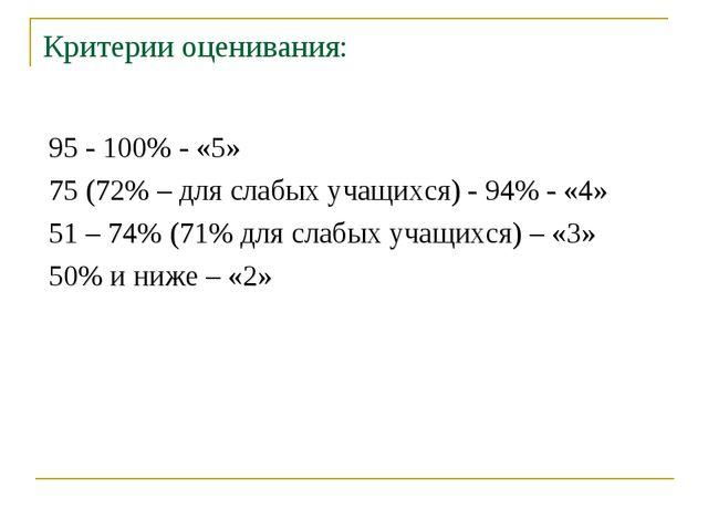 Критерии оценивания: 95 - 100% - «5» 75 (72% – для слабых учащихся) - 94% - «...