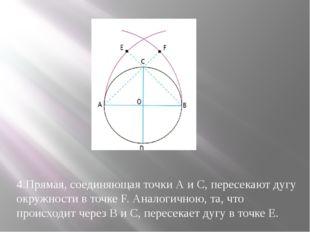 4.Прямая, соединяющая точки А и С, пересекают дугу окружности в точке F. Анал
