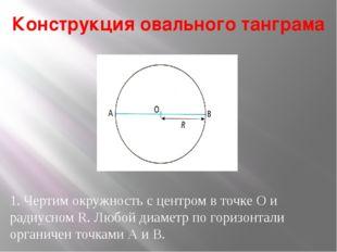 Конструкция овального танграма 1. Чертим окружность с центром в точке О и рад