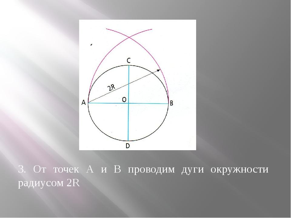 3. От точек А и В проводим дуги окружности радиусом 2R