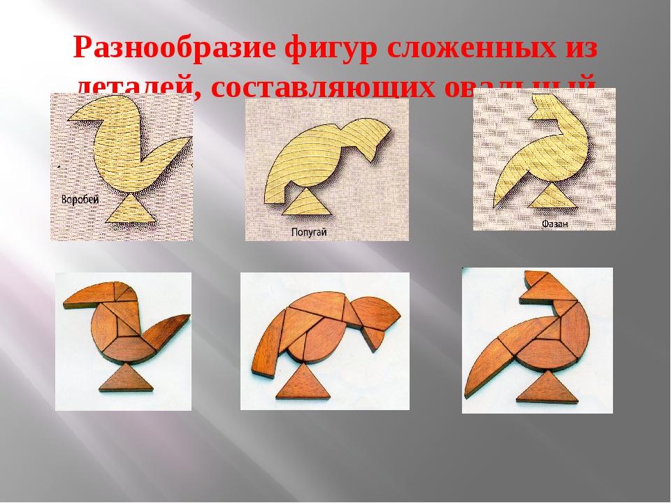 Разнообразие фигур сложенных из деталей, составляющих овальный танграм: