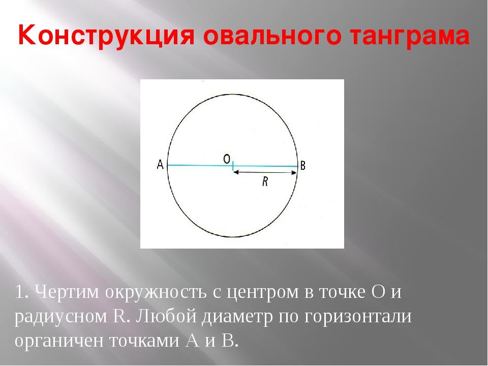 Конструкция овального танграма 1. Чертим окружность с центром в точке О и рад...