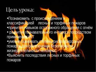 Познакомить с происхождением и классификацией лесных и торфяных пожаров приви